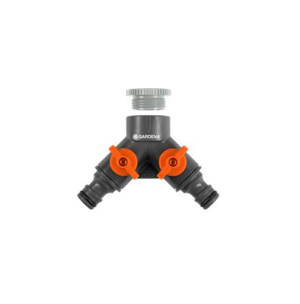 """Gardena - 2-vägskran med adapter 1/2"""" - 3/4"""""""